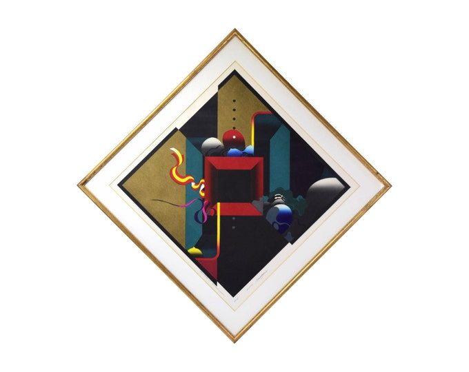 """1971 Modern Abstract Japanese Woodblock Print """"Closed Room"""" Sgnd Kurosaki"""