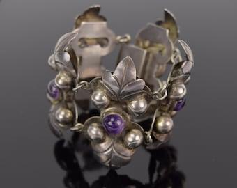 Vintage Circa 1920's-1940's Mexican Silver Leaf Form Link Bracelet Amethyst Cabochons