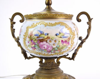 Antique Bronze Hand Painted Porcelain Lamp Watteau Style Lovers and Bluebirds