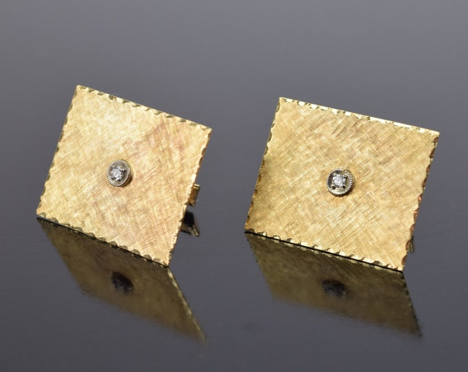 Huge Pair 14k Solid Yellow Gold Cufflinks with Solitaire Diamonds