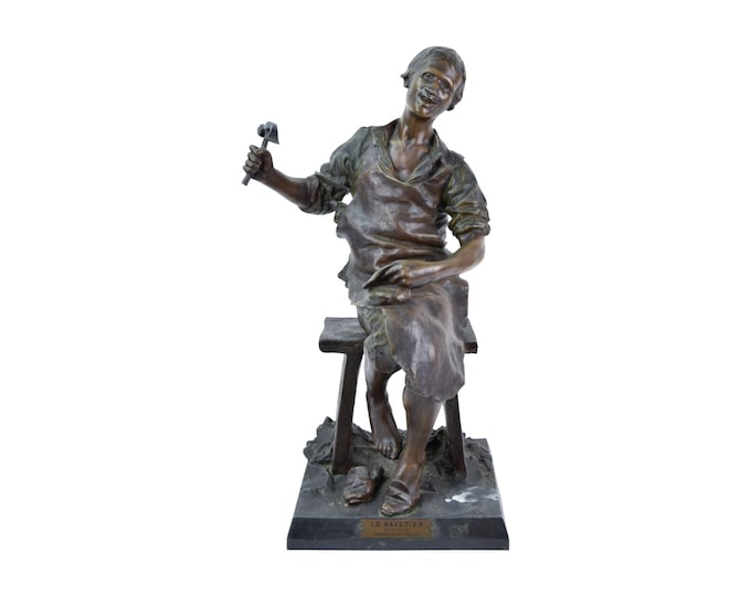 Le Savetier after Theodore Riviere French Spelter Bronze Sculpture of Shoemaker