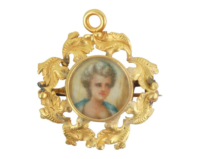 Vintage Hand Painted Miniature Portrait 14k Solid Gold Pendant Pin Brooch