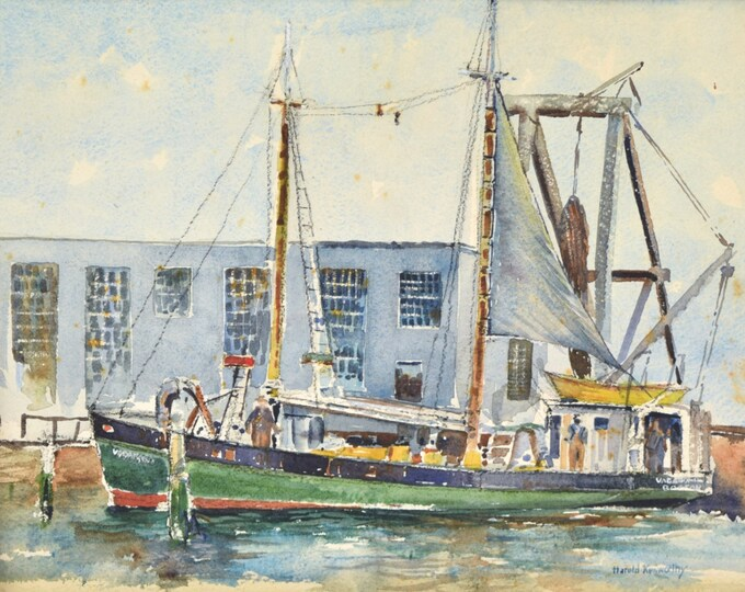 """1940's Watercolor Painting """"Vagabond"""" Boston Dragger in New Bedford Harbor"""