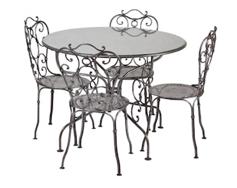 Industrial Age Finely Wrought Raw Steel Porch Set Table and Four Chairs