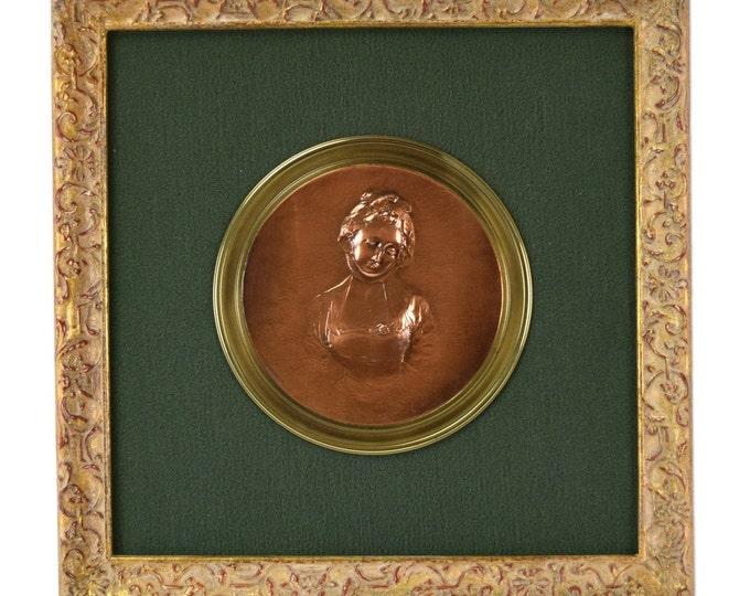 Antique Bronze Portrait Bas-Relief of Young Lady after Greuze Susse Freres
