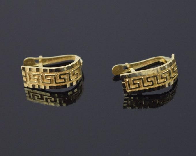 Vintage Pair 14k solid Gold Earrings Neo-Classical Greek Key Design