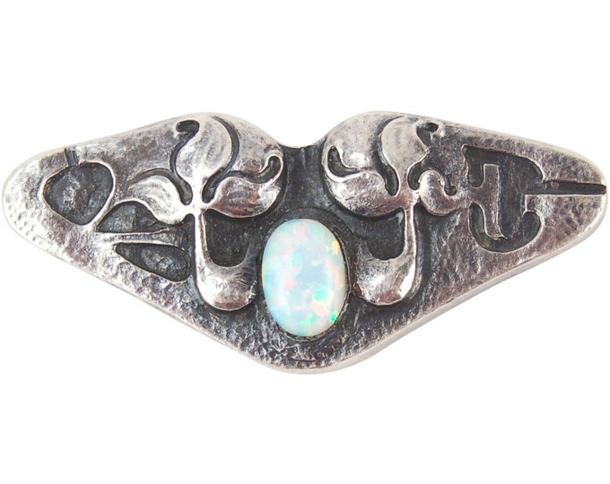 Antique Period Arts & Crafts Sterling Silver Brooch Stylized Foliage Opal Cabachon