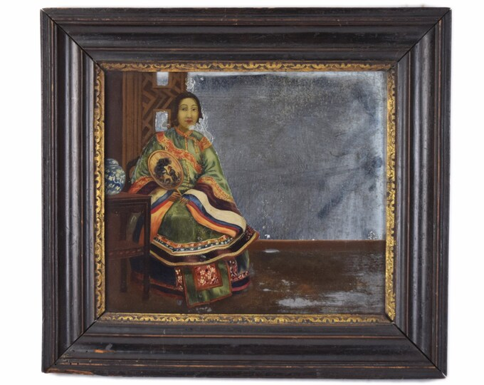 Antique Chinese Export Eglomise Reverse Painted Mirror Woman in Robes with Fan