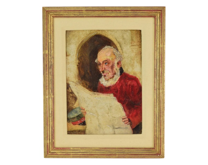 Vintage Oil Painting Portrait of Older English Man Chelsea Pensioner Reading Newspaper