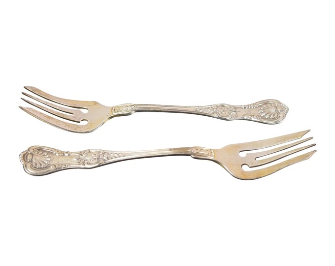 1914 Pair of Dominick & Haff King Sterling Individual Fish Forks Rare Shape