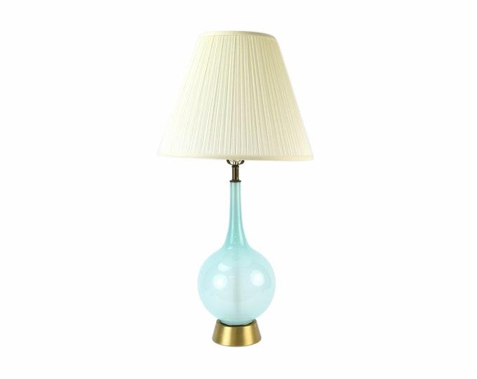 Vintage Mid-Century Modern Powder Blue Bottle Murano Glass Table Lamp