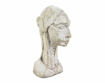 "Vintage Modern Abstract Concrete Sculpture ""Young Woman"" Gail Shapiro Chicago"