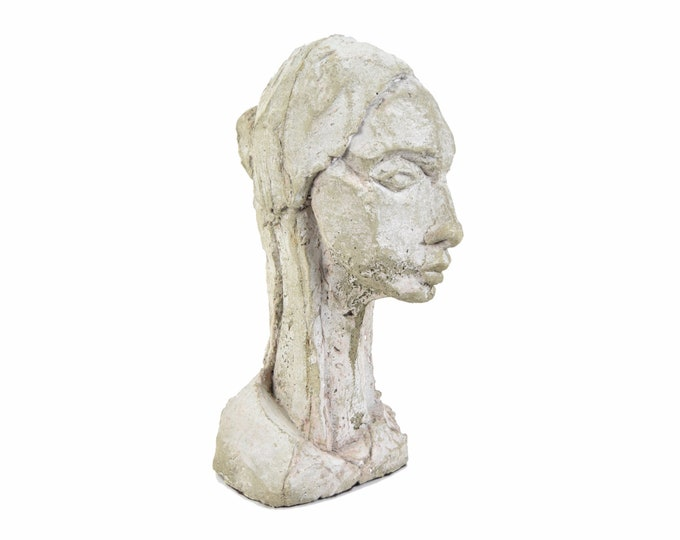"""Vintage Modern Abstract Concrete Sculpture """"Young Woman"""" Gail Shapiro Chicago"""