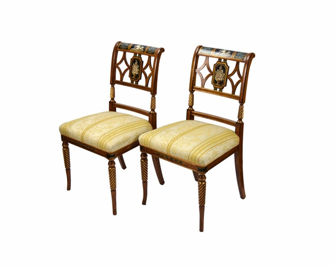 Pair Italian Fine Galimberti Lino Chair Hand-Painted Neoclassical Scenes #2