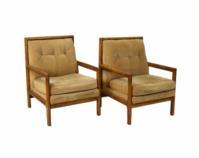 Vintage Pair of Modern Hickory Armchairs Lounge Chairs Tan Upholstery