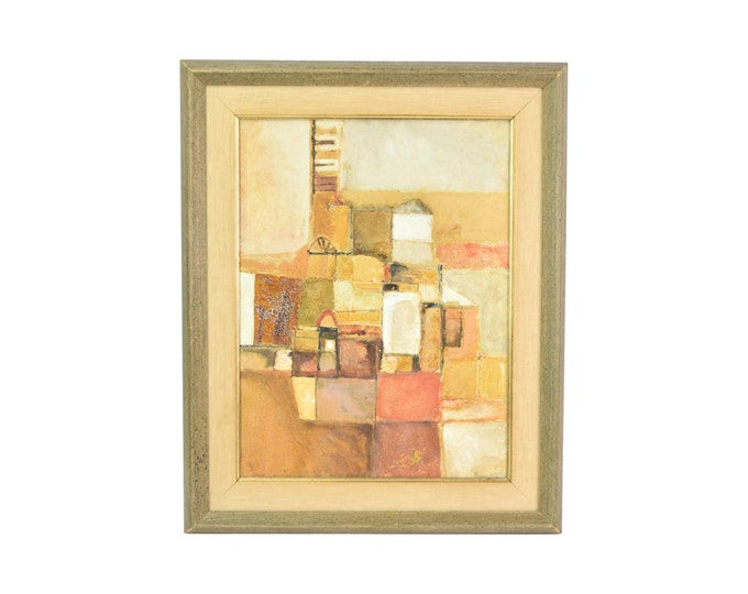 Mid-Century 1956 Italian Modernist Abstract Oil Painting Paolo Buggiani