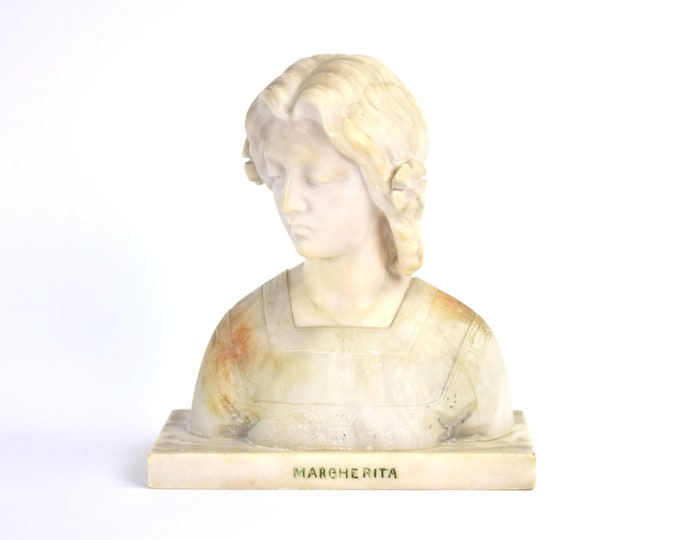 Antique Carved Alabaster Bust Margherita of Italy by Giuseppe Bessi