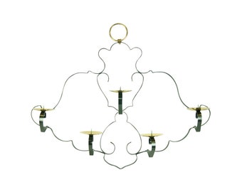 Mid-century Modern Wrought Iron & Brass Pricket Wall Candle Sconce