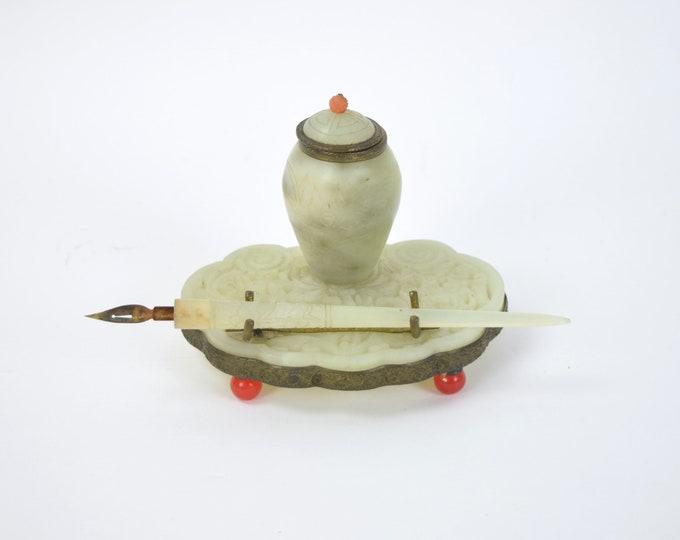 Antique Chinese Carved Jade Inkwell Inkstand w Pen Gilt Brass & Carnelian Feet