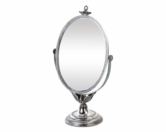 Vintage Spanish Sterling Silver Figural Swan Vanity Swivel Mirror
