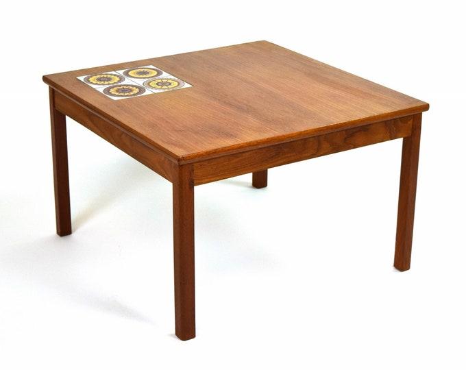 Vintage Danish Modern Inset Tile Top Teak Coffee Cocktail Table