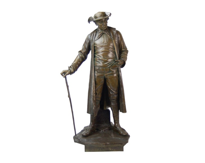 1887 Austrian Bronze Genre Statue of Man in Duster Coat w Cane and Bush Hat