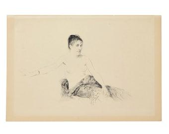 GIUSEPPE DE NITTIS Impressionist Etching Nude Femme Assise Sur un Canapé, 1913