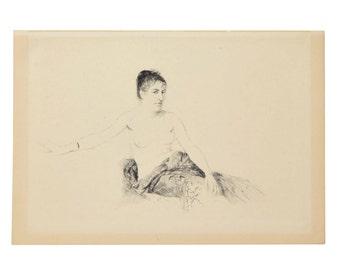 1913 Italian Impressionist Etching Nude Femme Assise Sur un Canapé Giuseppe de Nittis