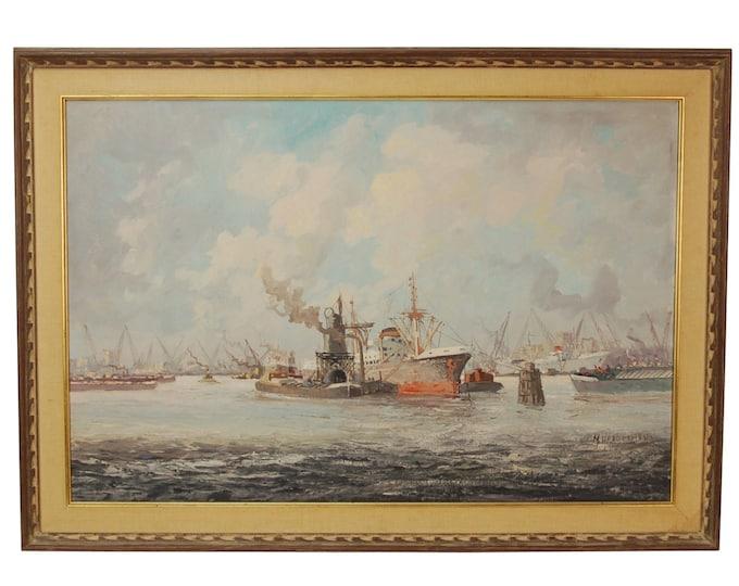 1950's Impressionist Industrial Oil Painting Shipyard Harbor Scene signed