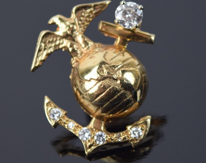 USMC Marine Corp Logo 14k Solid Yellow Gold Diamond Tie Tack Lapel Pin