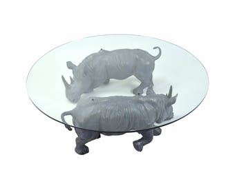 "Connie Foss ""Mighty Rhino"" Coffee Table Pair Bronze Rhinoceros Sculptures"