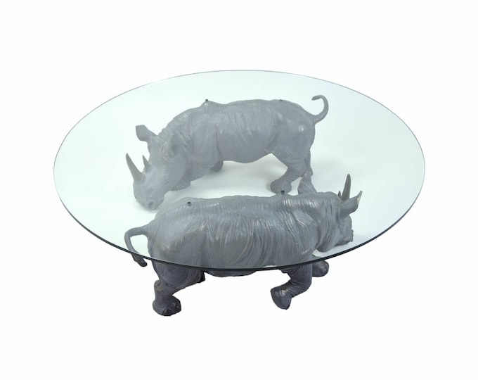 """Connie Foss """"Mighty Rhino"""" Coffee Table Pair Bronze Rhinoceros Sculptures"""