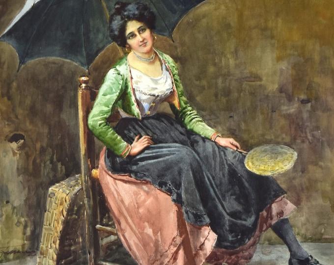 Circa 1900 Italian Genre Painting Street Vender Selling Corn w Umbrella