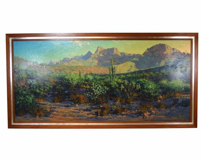Huge 8ft. Richard Iams Southwest Landscape Saguaro Tucson Valley Oil Painting