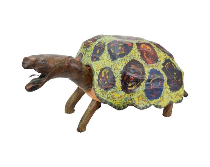 Vintage 1970's Life-size Folk Art Papier-Mache Driftwood Tortoise Sculpture