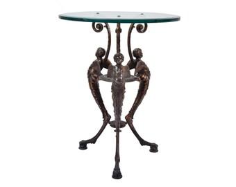Hanau Zimmerman Foundry Bronze Patinated Iron Cherub Putti Tripod Table