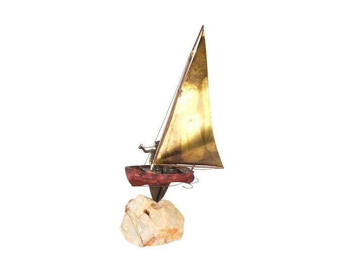 Curtis Jere Mid Century Modern Metal Art Sculpture Single Handed Sailboat