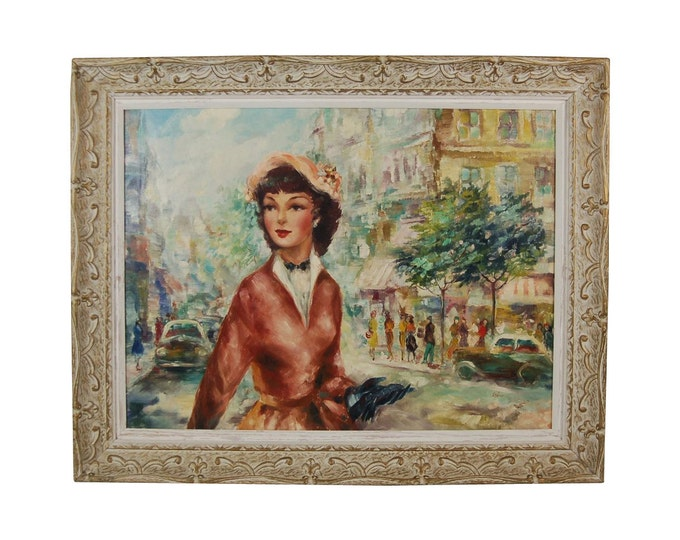 """1950's French Impressionist Painting """"Paris Girl"""" Street Scene Gustave Cherie"""