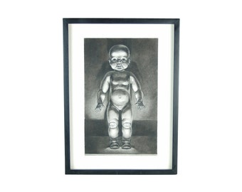 "Charcoal Drawing ""Baby Doll"" by Kansas Artist Constance Ehrlich"