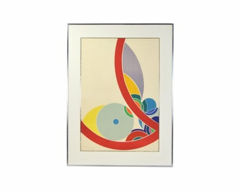Vintage 1970's Colorful Abstract Geometric Lithograph Artist's Proof Signed #'d