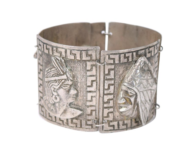 Vintage Peruvian Heavy .900 Silver Bracelet with Inca Princess Imagery