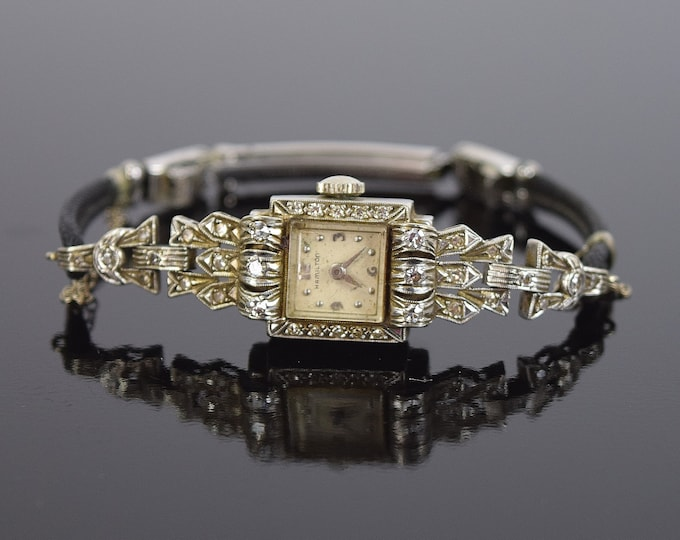 Vintage Hamilton Elegant 14k White Gold & Diamond Encrusted Ladies Wrist Watch