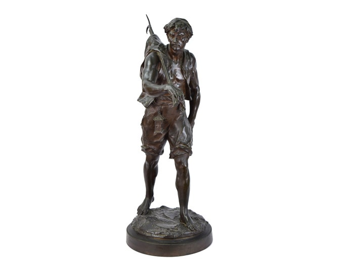 """Antique Emile Louis Picault French Bronze """"The Whaler"""" 32in"""