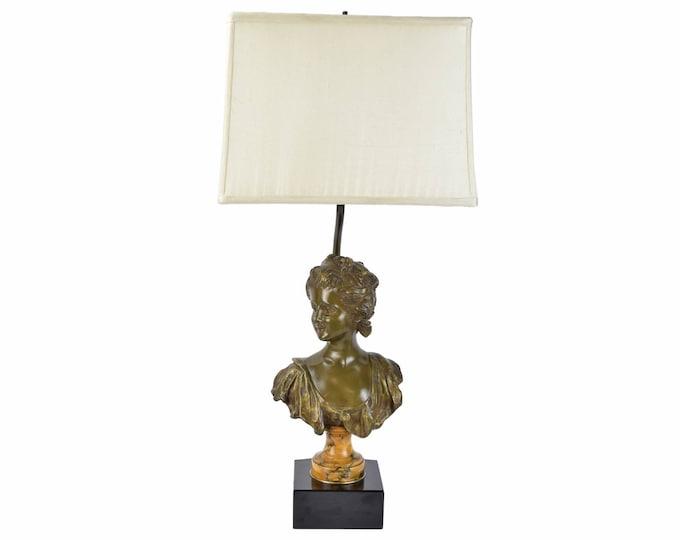 Antique Belle Epoque Lamp With Bronze Bust of Pretty Young Woman by Van Der Straeten