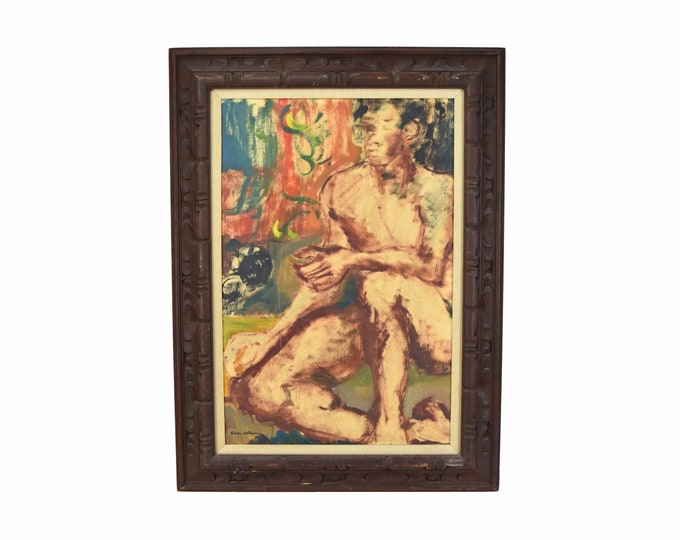 Abstracted Study of Nude Man Edith Altman Oil Painting on Board