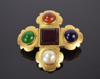 Vintage 1980's Chanel Maltese Cross w Gripoix Glass Cabochons Brooch Pin
