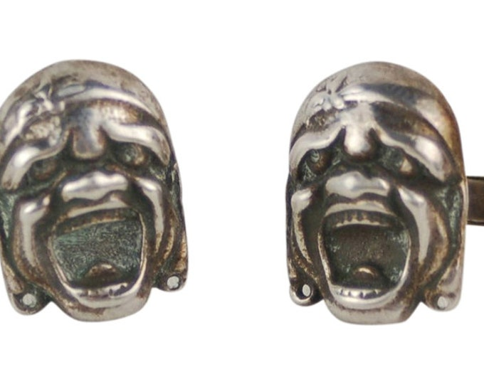 Vintage Sterling Silver Grotesque Masks Cufflinks Cuff Links