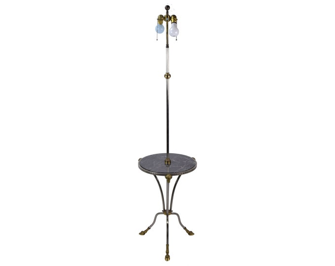 Chapman Empire Revival Rams Head & Hooved Floor Lamp W Marble Tray Table