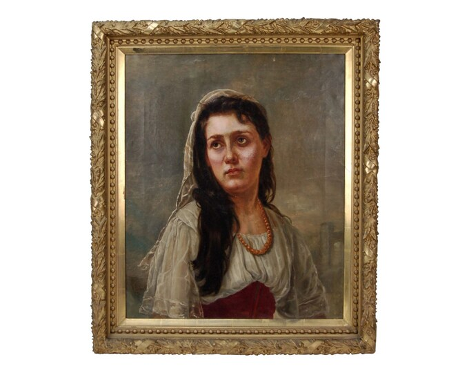 1884 Oil Painting Beautiful Young Woman Signed Alfred Payne Hinsdale IL Artist