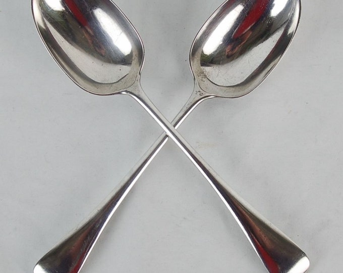 1925 Pair Sterling Silver Table Serving Spoons J Marshal Spink London England